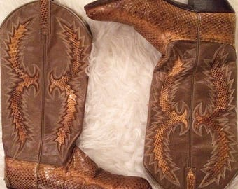 Dan Post Python Snakeskin And Leather Cowboy Boots Size M5.5 W7.5 Made In Spain