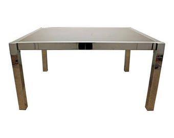 Mid-Century Danish Modern Milo Baughman DIA Chrome Extension Dining Table
