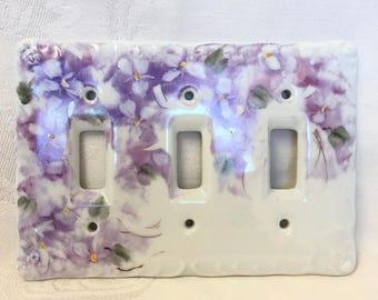 Porcelain triple light switch cover handpainted violets