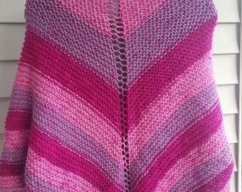 shawl, knit shawl, multicolor shawl (raspberry swirl)