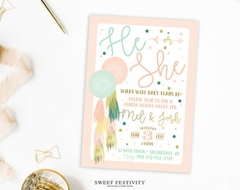 Gender Reveal Invitation, Balloon Tassels, Reveal Party, Boy or Girl, Baby Shower, He or She Invitation, Gold Foil, Pink, Mint, Watercolor