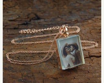 ON SALE NOW Locket, Rose Gold Locket, Locket Pendant, Rose Gold Necklace, Memory Locket, Antique Locket, Photo Locket, Rectangle Locket, Pic