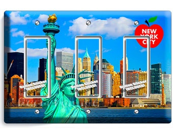 statue of liberty NYC New York City Manhattan skyline big apple triple GFI light switch wall plate cover living room NY bedroom office decor