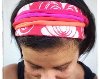 Red folk roses - wrap scrap headband, infinity hairscarf, yoga turban headband, woman