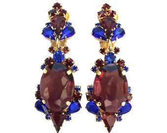 Crystal Earrings in purple blue, Colorful crystal earrings, Swarovski crystal earrings