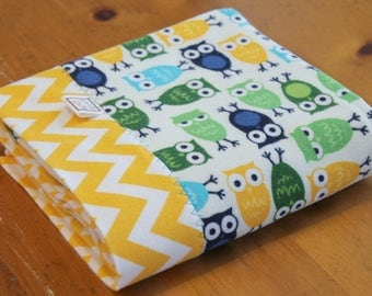 Owl Baby Blanket, Personalized Boy Blanket, Cotton Flannel Receiving Blanket, Blue Yellow Baby Blanket, Personalized Baby Blanket
