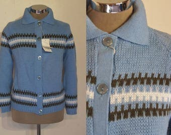 """Cool early 1960s chunky knit cardigan  bust 36""""- 37"""" NOS unworn!"""