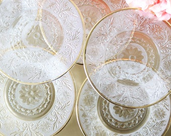 Vintage Glass Dessert Plates With Gold Rims Clear Glass Plates Clear Plates Vintage Glassware Wedding Gift Gold Plates Gift For Her