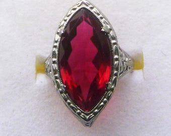 Art Deco filigree rhodium silvertone ruby red french paste navette ring circa 1920s size 4.75