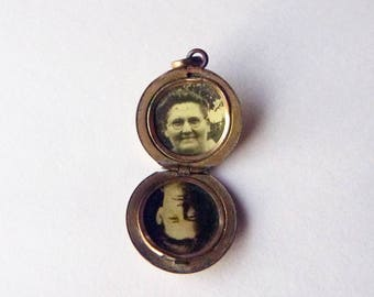 Early 1900s locket double photo woman and young man portrait