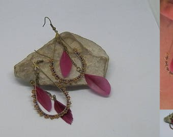 Woven Burgundy and bronze feather earrings