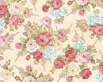Anniversary Sale Peaceful Garden~Large Rose Bouquet Cotton Fabric by Henry Glass Fast Shipping F880
