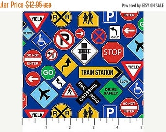 Summer Sale- Connector Playmat Traffic Signs~Children's Cotton Fabric by~Northcott~Fast Shipping CH338