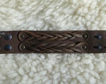 Strength braided 100% cowhide leather dark brown bold bracelet