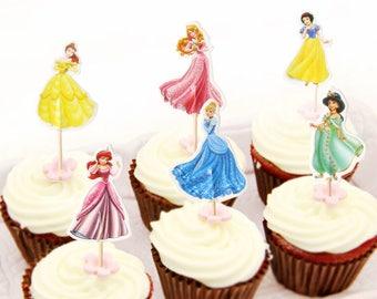 Disney Princess Cupcake Toppers - Set of 12, 24, or 36 (6 Designs) DIY Cupcake Toppers