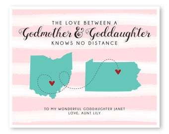 Godmother Gift, Goddaughter Gift, Gift For Goddaughter, Gift For Godmother, Long Distance Gift, Long Distance Quote Print, Moving Away Gift