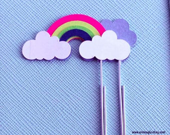 Rainbow & Clouds Planner Clip. Large Paper Clip. Original Design made from Card Stock. Great for Traveller's Notebook, Bullet Journal too!