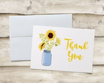 Sunflower Thank You Cards, Sunflower Thank You Note Cards, Bridal Shower Thank You Cards, Bridal Shower Thank You Note Cards, Folded Notes