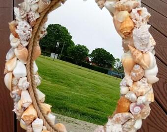 Shell Mirror - Nautical Mirror -  Beach Decor - Wall Hanging (SOM003)