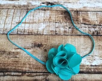 Newborn to Toddler Tropic Jade Green Mini Chiffon Rose on Skinny Elastic Headband