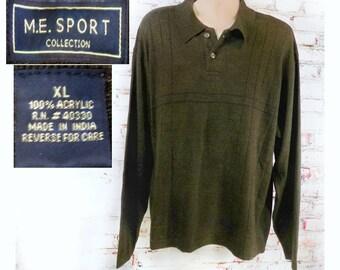 men's brown knit sweater, collared knit sweater, men's long sleeve sweater, men's button collar sweater - size X large,   # 49