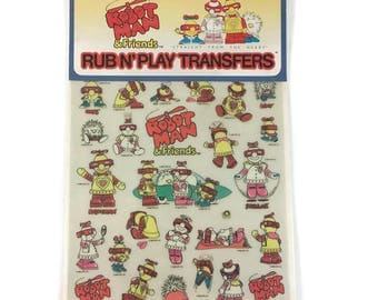 Vintage 1984 Colorforms Robot Man & Friends Rub N' Play Transfers, Kids Robot Transfers to Decorate Notebooks, Lunch Boxes, Toys, etc 8911