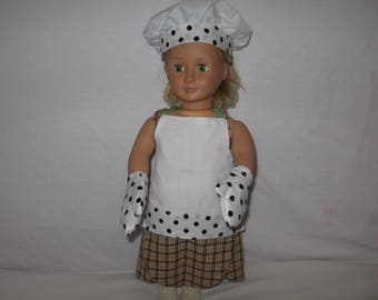 18 inch dolls Chef Outfit for American Girl, Journey Girl, Newbury Girl, Maple Leah Girl and other 18 inch dolls