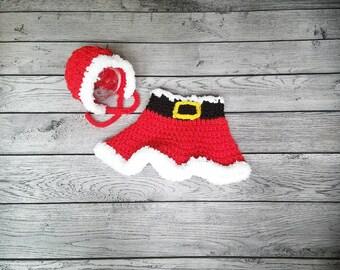 Girl Santa Outfit, Baby Santa Suit, Crochet Santa Prop, Bonnet, Newborn Santa, Crochet Photo Prop, Santa Prop, Mrs. Claus, First Christmas