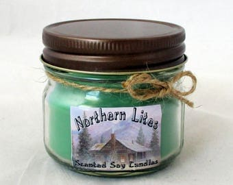 Pine Forest soy candle, 4 oz jar candle, scented soy candle, winter candle, christmas candle, container candle, green soy candle