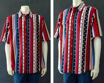 Vintage Wrangler Western Shirt, Mutli Color Men's Button Up Short Sleeve Shirt, Wrangler Cowboy Country Western Shirt, 80s Rockabilly Shirt