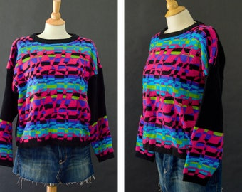 Vintage 80s Gitano Sweater, Bright Color Sweater, Neon Geometric Sweater, Knit Sweater, 80s Ugly Sweater, Pink Green Sweater, Size Large
