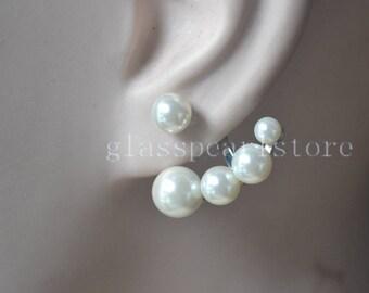 1 pair glass pearl earrings,new earrings,ivory pearl earrings,bridesmaid earrings,women earrings,wedding earrings,five pieces pearls earring