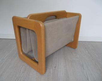 Vintage newspaper rack,magazine holder,rare newspaper stand,book holder,massive wooden book rack,magazine rack with wooden handle