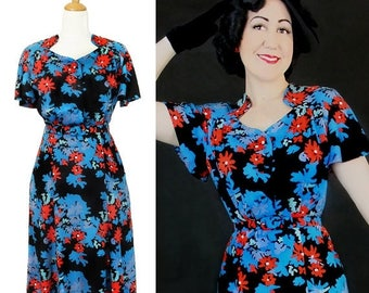 60% OFF Vintage 1930's 1940's Rayon dress / Darla / Authentic vintage reproduction / floral 30s 40s dress / XS S M L Xl / Made to order