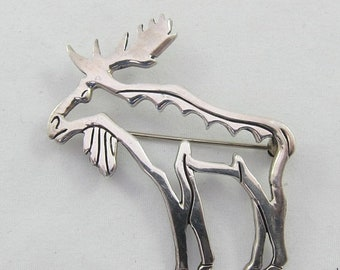 Spring Sale Silver Sterling Moose Cut Out Stylized Brooch Pin