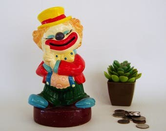 ON SALE Vintage Clown Bank Kids Room Circus Carnival Decor Figurine Statue