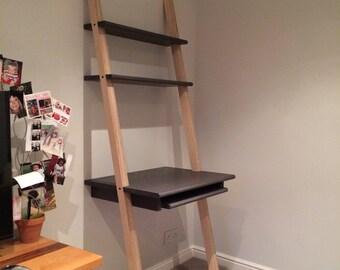 Leaning Desk / Computer Table / Keyboard / Shelves / Workstation - Baltic Birch Plywood Valchromat
