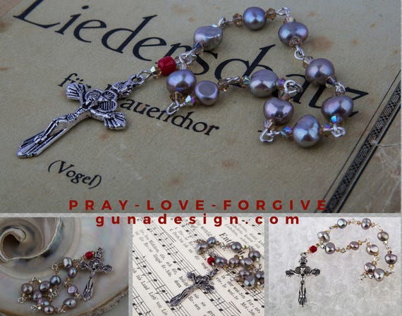 Sweet Water Pearls and Swarowski Crystal mini Rosary by GunaDesign