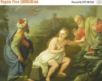 """30% Off Summer Sale Sale Elegant and Rare 18th Century Oil Painting """"Suzanne and the Elders"""""""