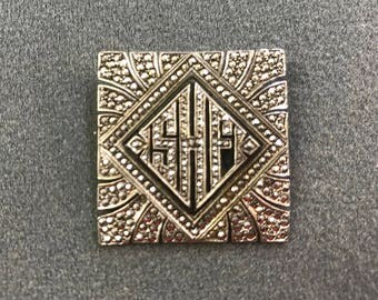 Art Deco Sterling Silver and Marcasite Brooch. Free shipping