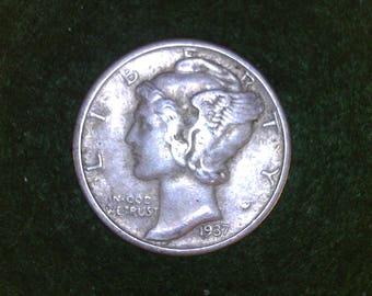 1937  Mercury Dime - Nice Details