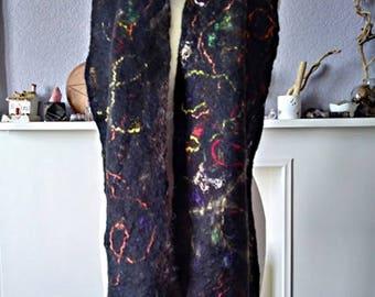 "Luxury Felt Scarf, ""Kaleidoscope"", Cobweb Scarf 158 x 29 cm, Merino Wool and Silk Beautifully Soft and Lightweight"