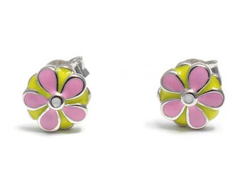 Pink floral Stud Earrings 925 sterling silver