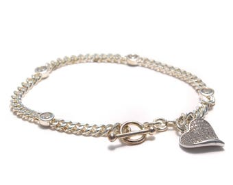 Beautiful zirkoniabesetztes 925 silver bracelet with sparkling heart Pendant