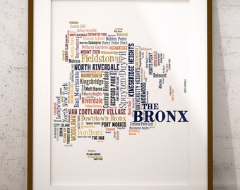 Bronx Map Art, Bronx Art Print, Bronx Neighborhood Map, Bronx Typography Art, Bronx Poster Print, Bronx Word Cloud