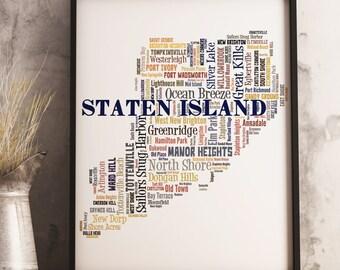 Staten Island Map Art, Staten Island Art Print, Staten Island Neighborhood Map, Staten Island Typography Art, Staten Island Poster Print