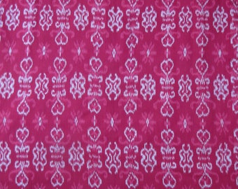Hand Woven Red, Pink, White Ikat, 100% Cotton, By the Yard