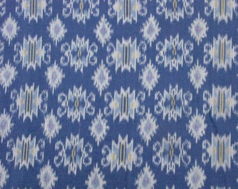Handwoven Cotton Ikat; Blue, Gray, Yellow, Violet; by the yard
