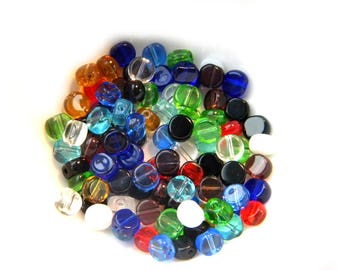 100 Mixed Flat Round Glass Beads