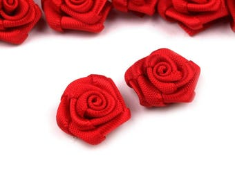 10 small pink Red satin flowers 15 mm